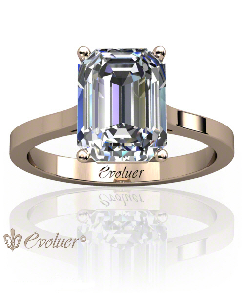 Solitaire Engagement Ring Emerald Diamond 4 Prongs 2 Rail Rose-Gold Square Shape Band Plain