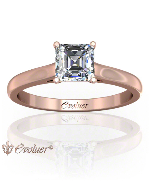 Solitaire Engagement Ring Asscher Diamond 4 Prongs Converge + 1 Rail Rose-Gold Round Shape Band Plain