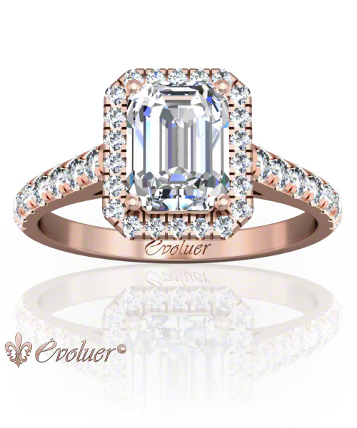 Solitaire Engagement Ring Emerald Diamond Halo 4 Prongs Converge Rose-Gold Round Shape Band Micro open Prongs Round Diamond Stones One Row Two Quarters Coverage
