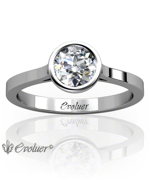 Solitaire Engagement Ring Round Diamond Bezel Lower Bezel White-Gold Platinum Square Shape Band Plain