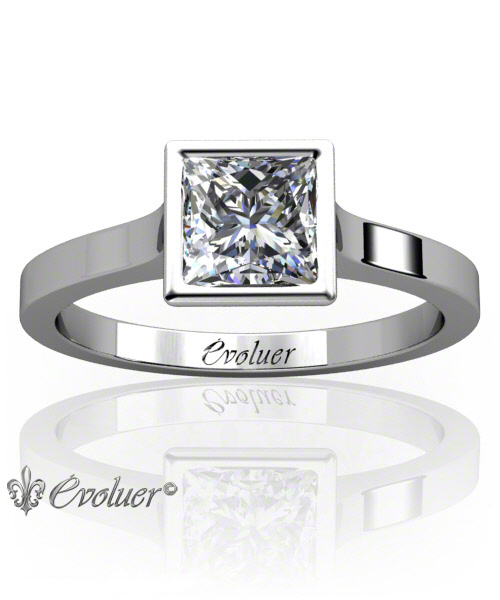 Solitaire Engagement Ring Princess Diamond Bezel Lower Bezel White-Gold Platinum Square Shape Band Plain
