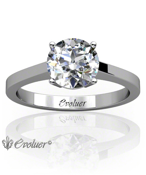 Solitaire Engagement Ring Round Diamond 4 Prongs 2 Rail White-Gold Platinum Square Shape Band Plain