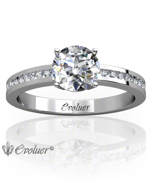 Solitaire Engagement Ring Round Diamond 4 Prongs 2 Rail White-Gold Platinum Square Shape Band Channel Set Round Diamond Stones One Row Two Quarters Coverage