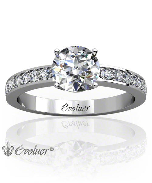 Solitaire Engagement Ring Round Diamond 4 Prongs 2 Rail White-Gold Platinum Square Shape Band Pave Set Round Diamond Stones One Row Two Quarters Coverage