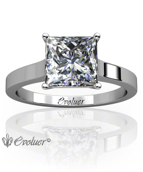 Solitaire Engagement Ring Princess Diamond 4 Prongs 2 Rail White-Gold Platinum Square Shape Band Plain