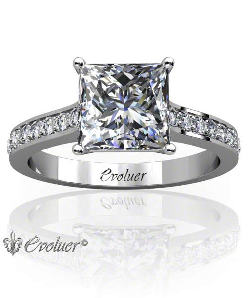 Solitaire Engagement Ring Princess Diamond 4 Prongs 2 Rail White-Gold Platinum Square Shape Band Pave Set Round Diamond Stones One Row Two Quarters Coverage