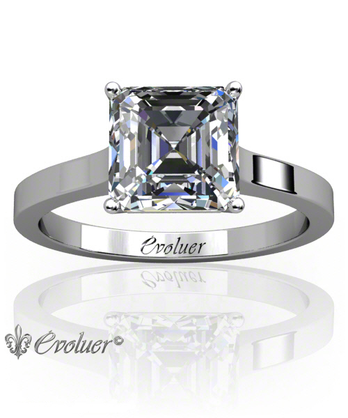 Solitaire Engagement Ring Asscher Diamond 4 Prongs 2 Rail White-Gold Platinum Square Shape Band Plain
