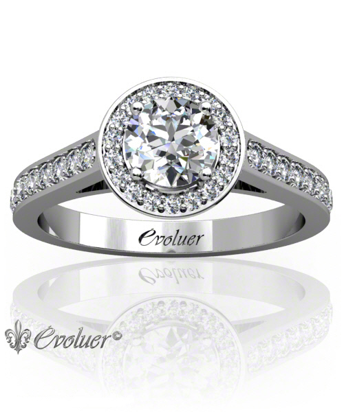 Solitaire Engagement Ring Round Diamond Halo 4 Prongs Converge White-Gold Platinum Square Shape Band Pave Set Round Diamond Stones One Row Two Quarters Coverage
