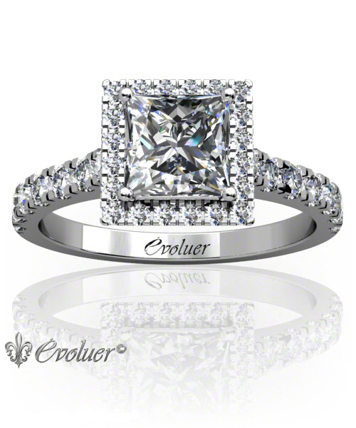 Solitaire Engagement Ring Princess Diamond Halo 4 Prongs Converge White-Gold Platinum Square Shape Band Micro open Prongs Round Diamond Stones One Row Two Quarters Coverage
