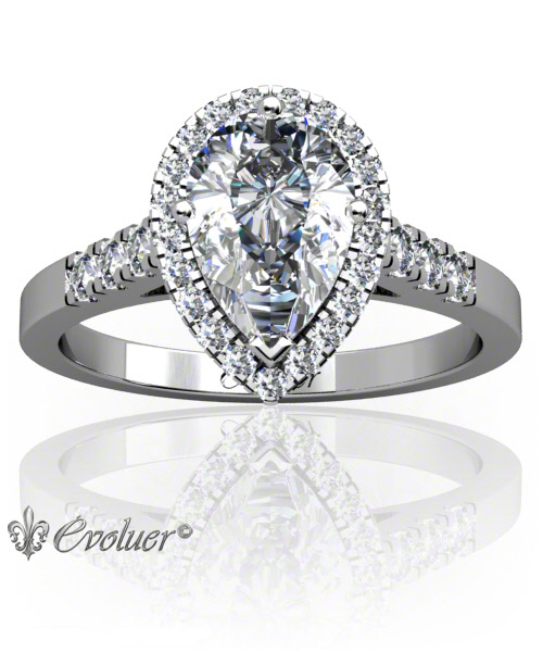 Solitaire Engagement Ring Pear Diamond Halo 4 Prongs Converge + 1 Rail White-Gold Platinum Square Shape Band Micro open Prongs Round Diamond Stones One Row One Quarter Coverage