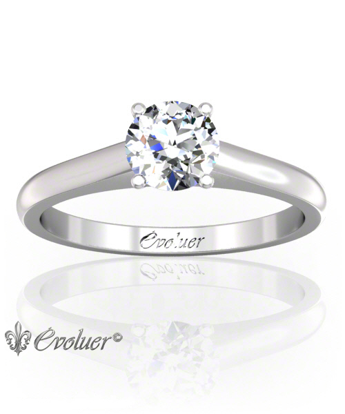 Solitaire Engagement Ring Round Diamond 4 Prongs Converge White-Gold Platinum Round Shape Band Plain