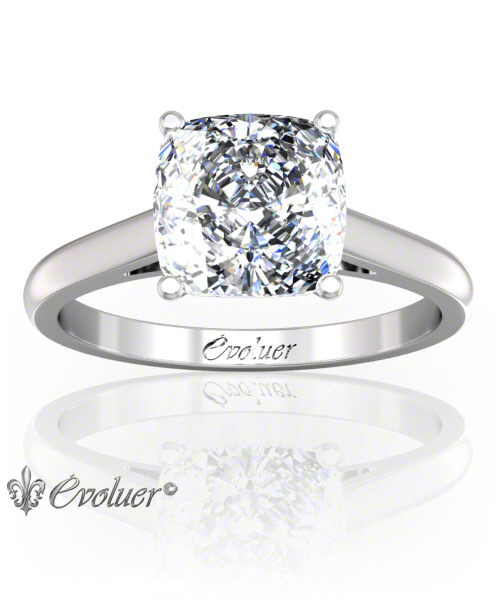 Solitaire Engagement Ring Cushion Square Diamond 4 Prongs Converge + 1 Rail White-Gold Platinum Round Shape Band Plain