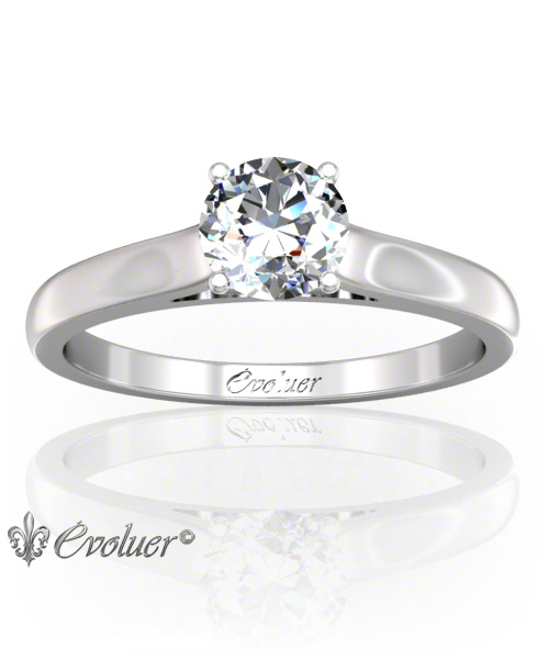 Solitaire Engagement Ring Round Diamond 4 Prongs Converge + 1 Rail White-Gold Platinum Round Shape Band Plain