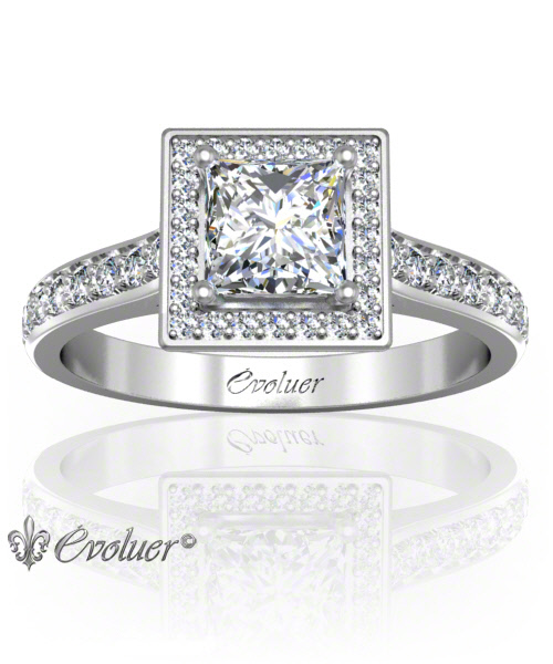 Solitaire Engagement Ring Princess Diamond Halo 4 Prongs Converge White-Gold Platinum Round Shape Band Pave Set Round Diamond Stones One Row Two Quarters Coverage