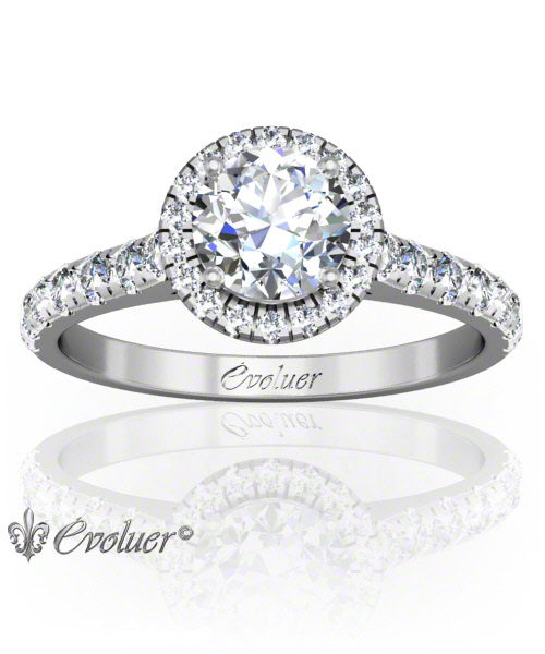 Solitaire Engagement Ring Round Diamond Halo 4 Prongs Converge White-Gold Platinum Round Shape Band Micro open Prongs Round Diamond Stones One Row Two Quarters Coverage