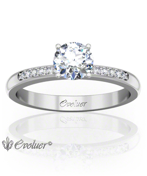 Solitaire Engagement Ring Round Diamond 4 Prongs Converge White-Gold Platinum Round Shape Band Pave Set Round Diamond Stones One Row One Quarter Coverage