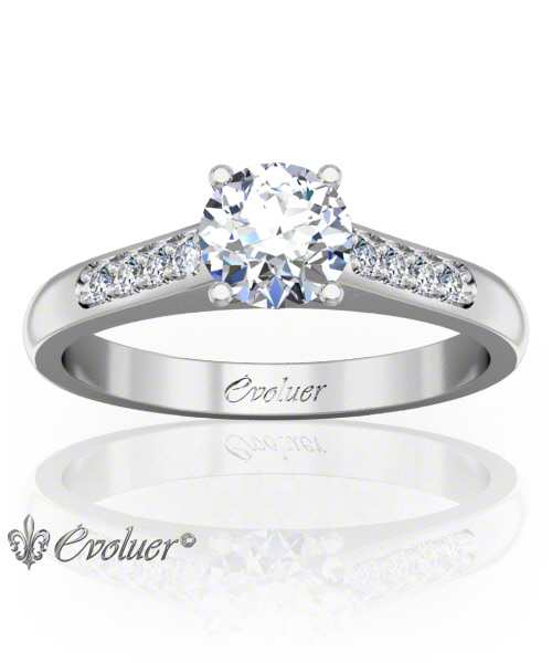 Solitaire Engagement Ring Round Diamond 4 Prongs Converge + 1 Rail White-Gold Platinum Round Shape Band Pave Set Round Diamond Stones One Row One Quarter Coverage