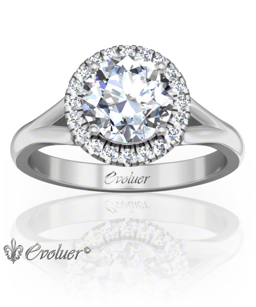 Solitaire Engagement Ring Round Diamond Halo 4 Prongs Converge White-Gold Platinum Round Shape Band Plain