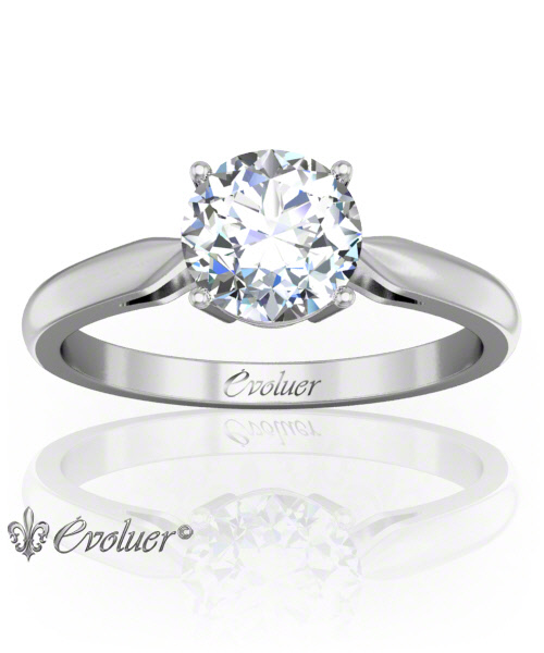 Solitaire Engagement Ring Round Diamond 4 Prongs 2 Rail White-Gold Platinum Round Shape Band Plain