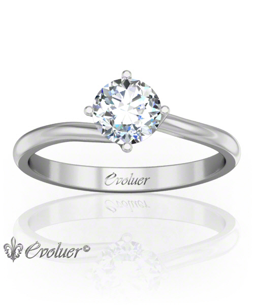 Solitaire Engagement Ring Round Diamond 4 Prongs Twist White-Gold Platinum Round Shape Band Plain