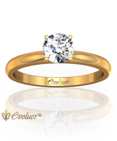 Solitaire Engagement Ring Round Diamond 4 Prongs Converge Yellow-Gold Round Shape Band Plain