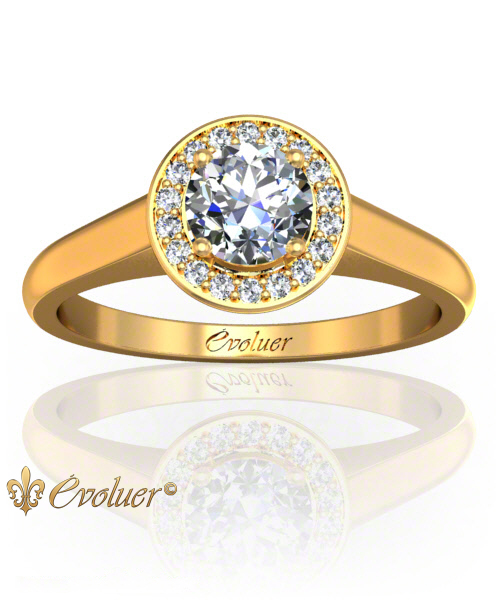 Solitaire Engagement Ring Round Diamond Halo 4 Prongs Converge Yellow-Gold Round Shape Band Plain