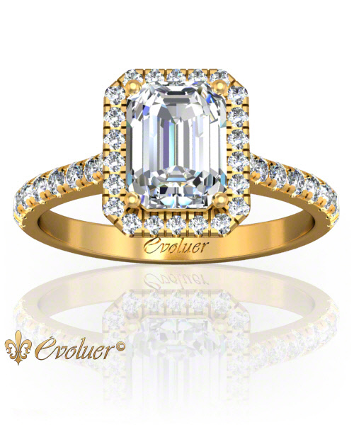 Solitaire Engagement Ring Emerald Diamond Halo 4 Prongs Converge Yellow-Gold Round Shape Band Micro open Prongs Round Diamond Stones One Row Two Quarters Coverage