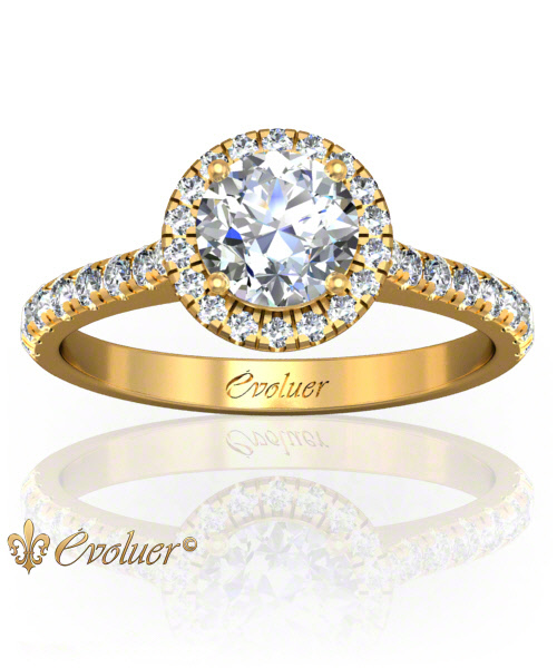 Solitaire Engagement Ring Round Diamond Halo 4 Prongs Converge Yellow-Gold Round Shape Band Micro open Prongs Round Diamond Stones One Row Two Quarters Coverage