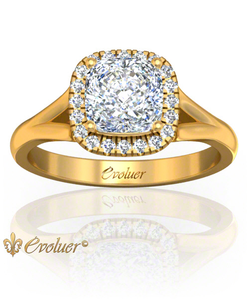 Solitaire Engagement Ring Cushion Square Diamond Halo 4 Prongs Converge Yellow-Gold Round Shape Band Plain