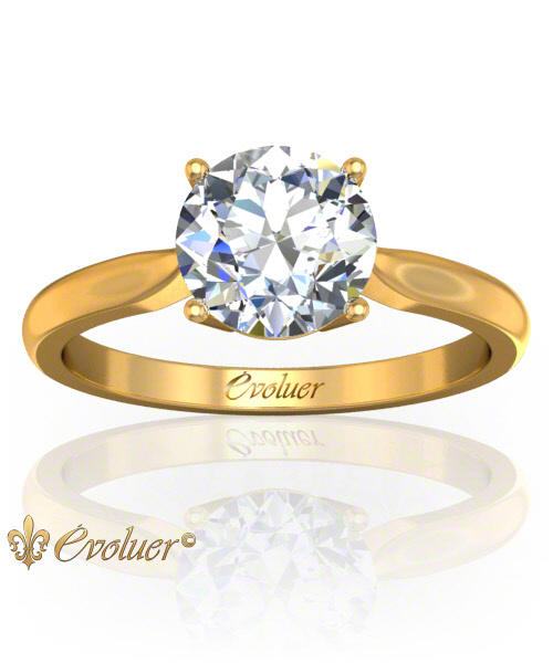 Solitaire Engagement Ring Round Diamond 4 Prongs 2 Rail Yellow-Gold Round Shape Band Plain