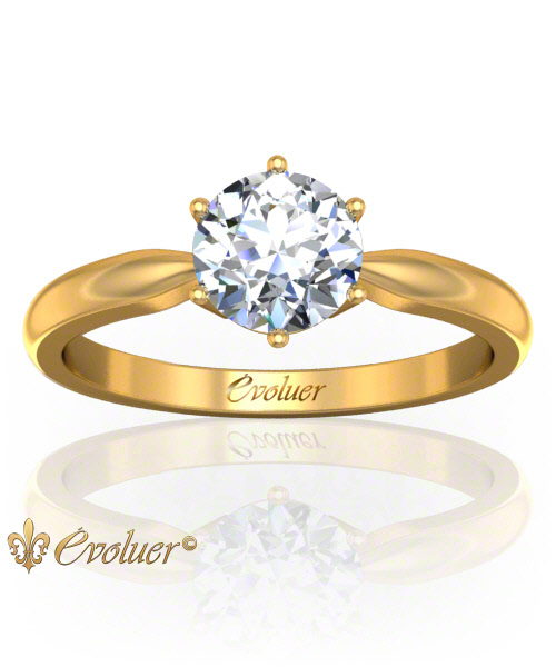 Solitaire Engagement Ring Round Diamond 6 Prongs 2 Rail Yellow-Gold Round Shape Band Plain