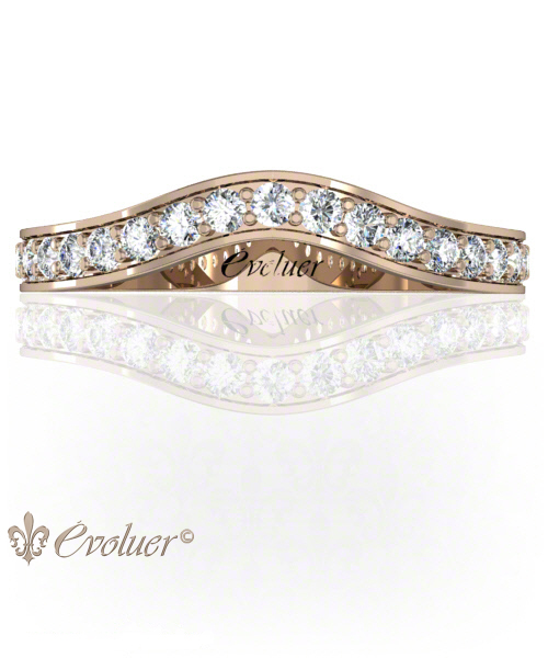 U Shape Profile Rose-Gold Square Shape Female Wedding Band Pave Set Round Diamond Stones One Row Two Quarters Coverage