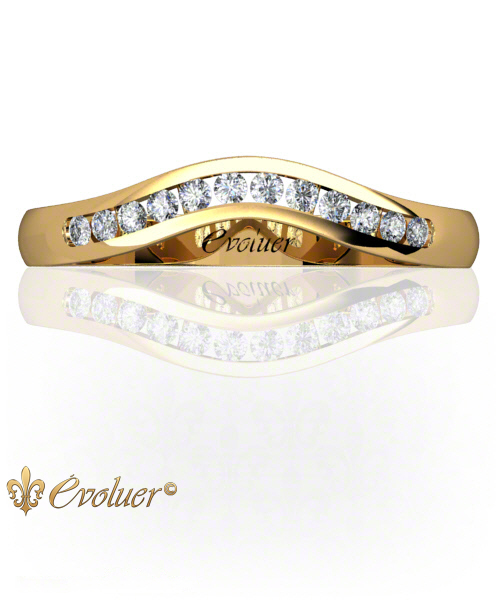 U Shape Profile Yellow-Gold Round Shape Female Wedding Band Channel Set Round Diamond Stones One Row One Quarter Coverage