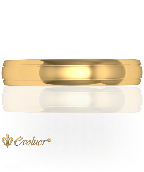 Sides Indent Profile Yellow-Gold Round Shaped Male Wedding Band